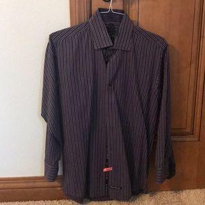 English laundry purple and black dress shirt